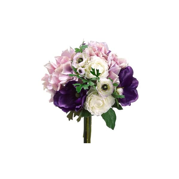 11″ Hydrangea/Ranunculus/ Anemone Bouquet Purple Lavender (Pack of 6)