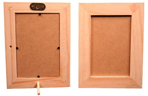 Pack of 6 - Unfinished Wood Picture Frames for Arts & Crafts - Stand or Hang on The Wall - Hold a 4x6 Inch Photo]()