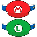 Amscan Super Mario Brothers Birthday Party Paper Visor Hat Favors, Multicolor, 4 3/4""