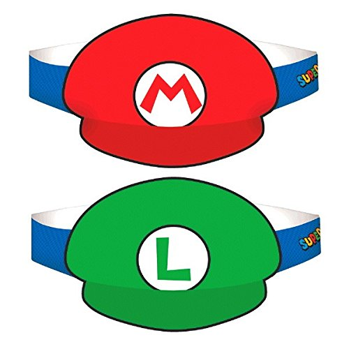 Super Mario Brothers Paper Hats, Party Favor ()