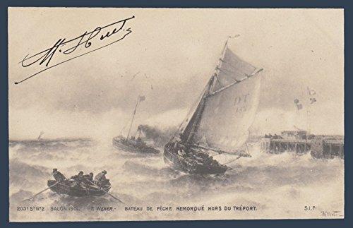 (Fishing boat off the Trailer Treport by T. Weber Vintage Original Postcard #0788 - July 21, 1901)