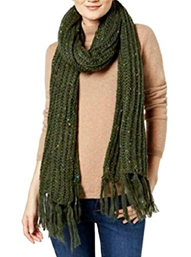 Steve Madden Speckled Soft Knit Scarf, Military Green (Green Chunky Scarves)