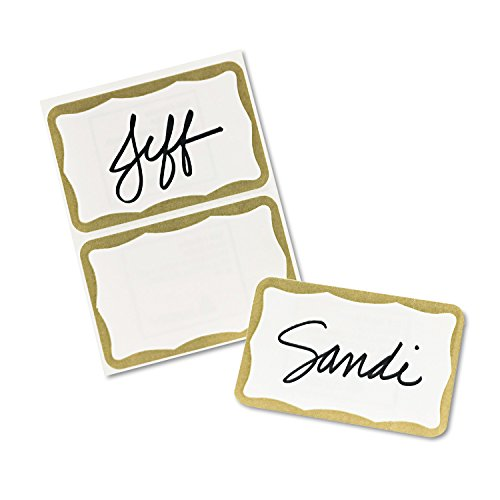 Avery Print or Write Name Badge Labels with Gold Border, 2-11/32