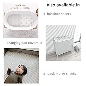 Cuddly Cubs Baby Crib Mattress Sheets Set | 2 Pack Crib Fitted Sheet For Boys, Girls, Toddler | Unisex Jersey Knit Cotton Babies Sheets for Crib | Sheep and Stripe in Grey and White | Top Quality