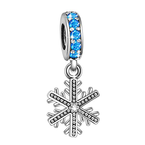 (Angemiel 925 Sterling Silver Crystal Snowflake Dangle Charms Bead for European Snake Chain Bracelets)