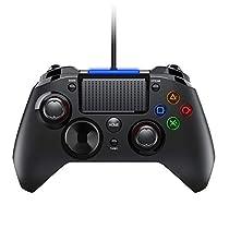 Qtuo PS4 コントローラー 有線 PCゲームコントローラーUSB接続 turbo連射機能 HD振動 高耐久ボタン PS3ゲームパッド プレイステーション4/3 日本取扱説明書付き(PS4/PS3/PC/Android/XINPUT 18ヶ月保証付