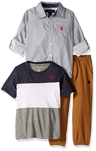 U.S. Polo Assn. Boys' Little 3 Piece Long Sleeve Woven, T-Shirt, and Twill Jogger Pant, Grey Stripes Multi Plaid, 7