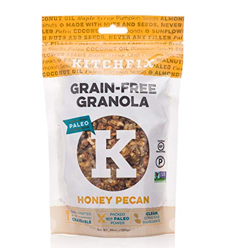 Cheap Kitchfix Grain-Free Paleo Granola | Vegan Plant-based protein from nuts and seeds | Certified gluten-free | Low sugar, low carb granola | Roasted in pure coconut oil | Honey Pecan 10oz