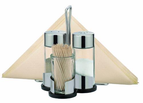Tescoma Salt & Pepper Caddy with toothpick & napkin holder