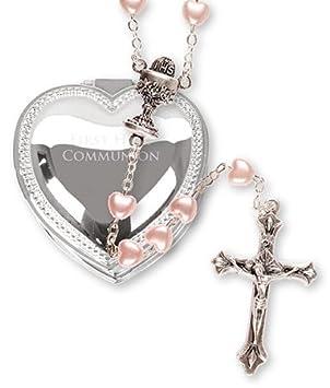 Cadeau De Première Communion Pour Fille Chapelet Avec Fausse Perle En Forme De Cœur Et Boîte à Bibelot En Argent Plaqué