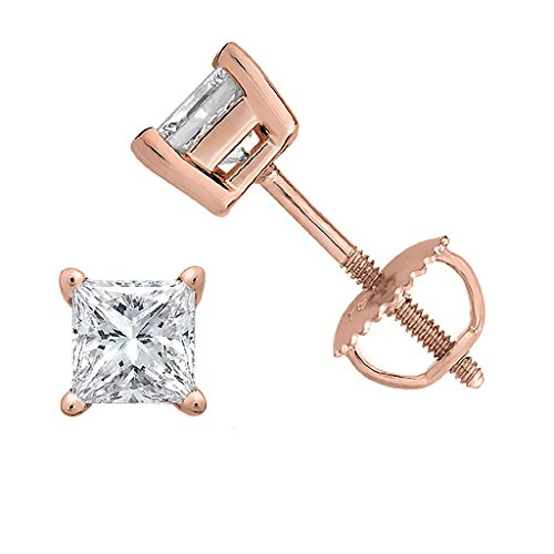 Princess cut Diamond stud Promo Quality Screw Back 14K Rose Gold (0.10ct, Clarity-I3)