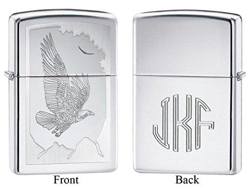 Personalized Zippo Birds of Prey High Polish Chrome Lighter with Free (Prey High Polish)