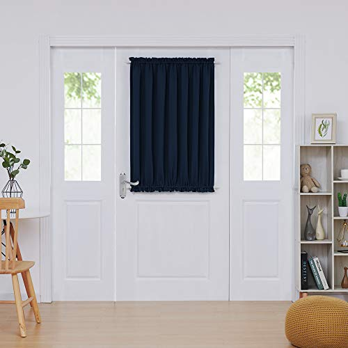 Deconovo Thermal Insulated Curtains French Door Panel Curtains Blackout Drapes 54 Inch by 40 Inch Navy Blue 1 Panel (Door Front Drapes)