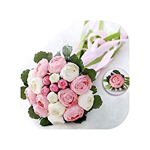 mamamoo Romantic Wedding Bouquet with Ribbon Artificial Peony Pink Green Women 2019 Bridal Accessories Bridals Flowers,Pink White 111