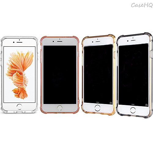 CaseHQ iPhone 7,8 Case [4 Pack] Transparent Slim Thin Cute Lovely Shockproof Bumper Shock Absorbing Flexible TPU for Apple iPhone 7/8 4.7 Inch (Clear+Black+Rosegold+Golden iPhone 7/8 Case)
