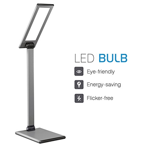 MoKo LED Desk Lamp, 8W Eye-Care Smart Touch Control Table Lamps with Rugged Aluminum Alloy Body, Stepless Adjusted Color Temperature/Brightness Level, Rotatable Arm/Head, Memory Function - Dark Gray by MoKo (Image #1)