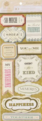 Anna Griffin - Francesca Collection - 3 Dimensional Cardstock Stickers - Titles