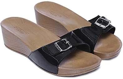 Ceyo Black Wedges Slipper For Women