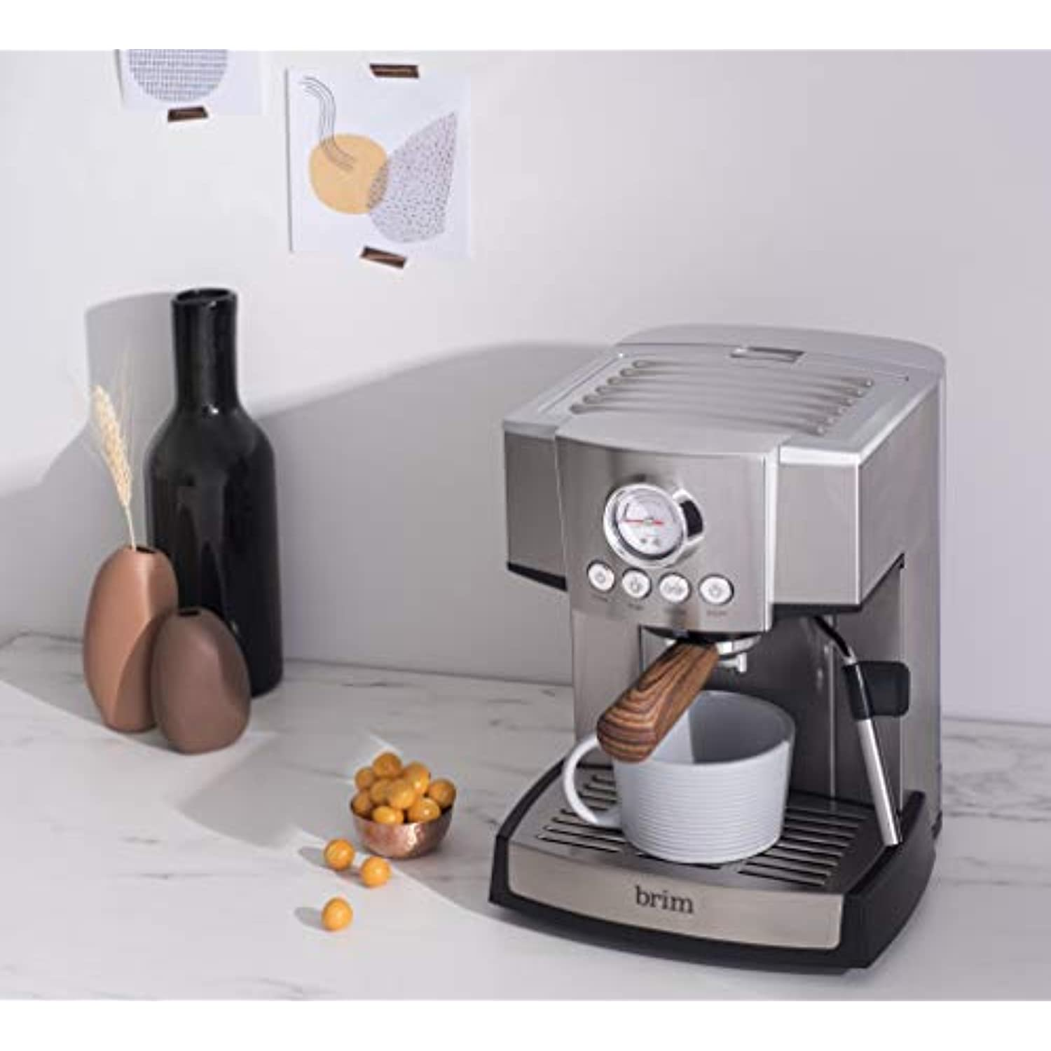 Brim 15 Bar Espresso Machine, Fast Heating Cappuccino, Americano, Latte and Espresso Maker, Milk Steamer and Frother, Removable Parts for Easy Cleaning, Stainless Steel/Wood Accents