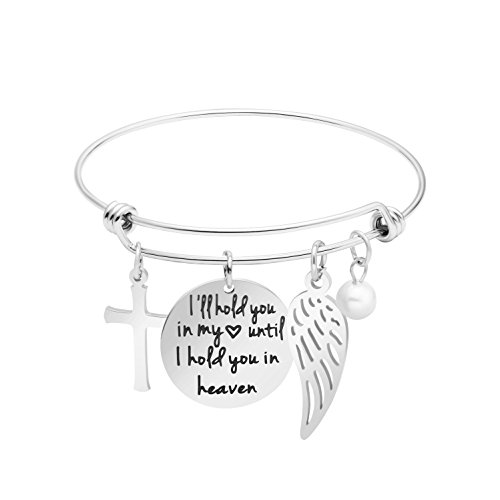 Memorial Jewelry Loss of Loved Mom Dad Grandma Expandable Bracelet Angel Wing I'll Hold You in My Heart Until I can Hold You in Heaven