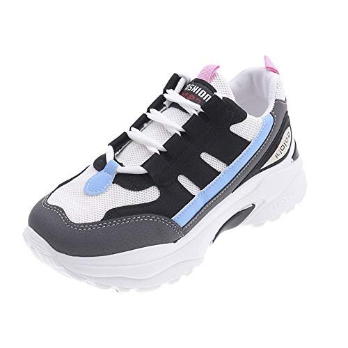 LIM&Shop ⭐ Classic Renaissance Sneaker Memory Foam Lace-up Sneaker Fashion Leather Casual Flat Shoes High Top Wedges Black