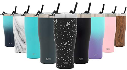 Simple Modern 32oz Slim Cruiser Tumbler with Straw & Closing Lid Travel Mug - Gift Double Wall Vacuum Insulated - 18/8 Stainless Steel Water Bottle Design: Lunar
