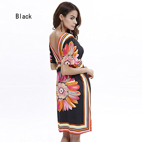 Beach Dress Black Red White Dress Size Comvison Sexy Short New Arrival V Neck Bohemian Plus TwqTvHgY