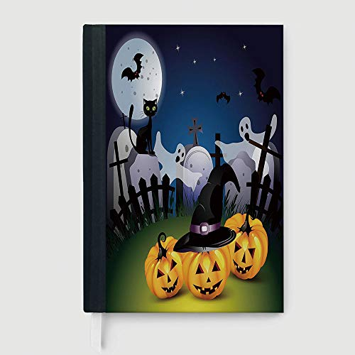 Halloween,Funny Cartoon Design with Pumpkins Witches Hat Ghosts Graveyard Full Moon Cat Decorative,96 Ruled Sheets,B5/7.99x10.02 in