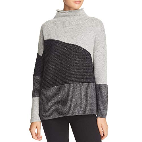 French Connection Women's Patchwork Multi Color Sweater, Grey Melange, S