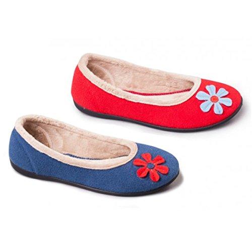 Mujer Casa Para Tela Padders De Por Rojo Zapatillas Estar 0nxAaq1
