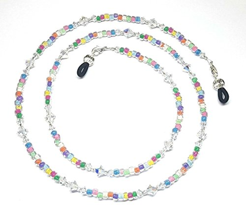 Austrian Crystal AB Czech Color-Lined Glass Bead Mix Eyeglass Chain Holder