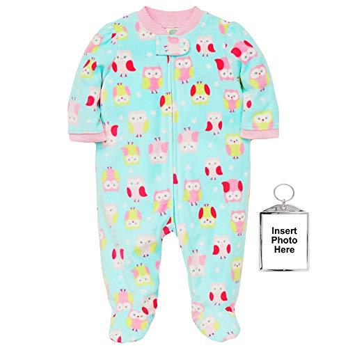 Little Me Winter Fleece Baby Pajamas Footed Blanket Sleeper Footie Owl Aqua 12 ()