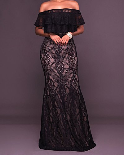 Sin De Encaje Elegante Vestido Fiesta Mujer Bodycon Vestido Negro Hombros Largo xpSpIqnW