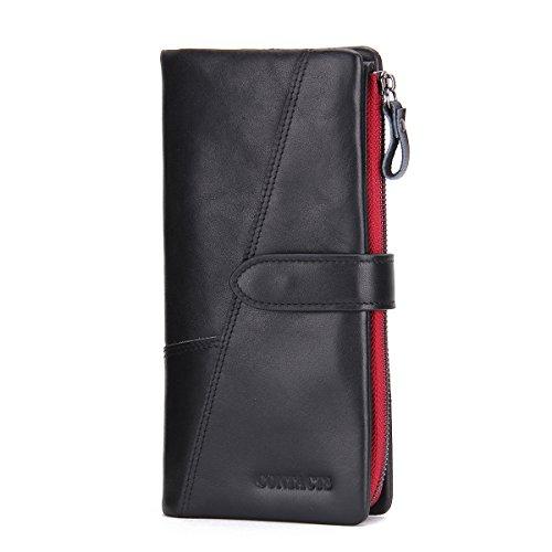 Sheepskin Long Wallet (Contacts Mens Genuine Leather Checkbook Organizer Zipper Long Secretary Wallet Black)