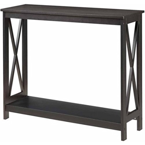 Oxford Hardwood Construction Glossy Black Finish Console Table (Bombay Living Room Ottoman)