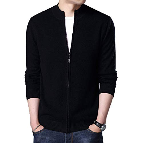 TOGIC Turtleneck Cardigan Men Thick Warm Sweatercoat Mens Wool Cardigans Zipper Cashmere Sweaters Black 4XL ()