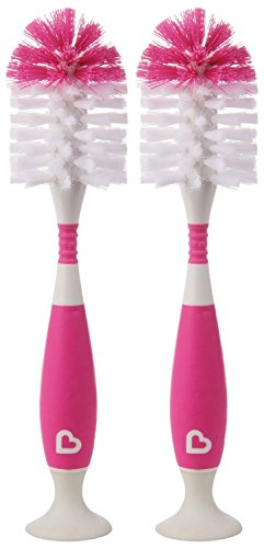 Munchkin Bristle Bottle Brush, Pink, 2 Pack ()
