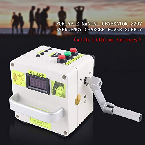 DiLiBee Kleine Handkurbel Generator New 220V Notladegerät Portable Power Supply (mit Lithium-Batterie)
