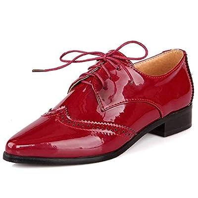 DoraTasia Women's British Style Lace Up Block Heel Oxfords Casual Shoes Low Heel Cuban Retro Brogues