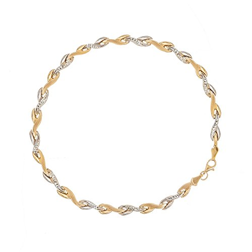 Stampato Leaf - 14k Yellow and White Gold Two-tone High Polish Sparkle-Cut Satin Leaf Stampato Bracelet - 7.25 Inch