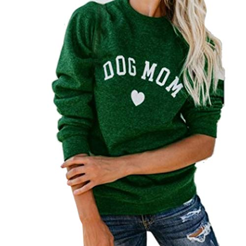 SUJING Women Letter Print Fashion Long Sleeve Blouse Tops Splicing Sweatshirt S-5XL (Green, 5XL)