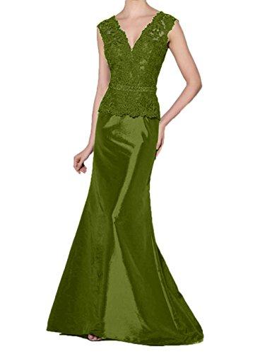 Gruen Promkleider Brautmutterkleider Spitze Abschlussballkleider Lang Abendkleider Olive Charmant Damen Meerjungfrau XSwOqz5z