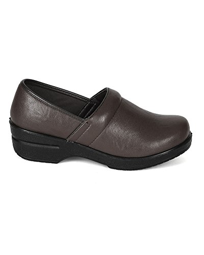 Refresh Women Leatherette Round Toe Slip On Clog BH36 - Brown (Size: 8.5) by Refresh (Image #1)'