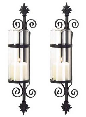 2 Black Iron French Hurricane Candle Holder Wall Sconce (Holder Wall Candle Sconce)