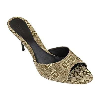 Gucci Women's Canvas Horsebit Print Slides Sandals 295093 (6.5 US / 36.5 IT, Beige)