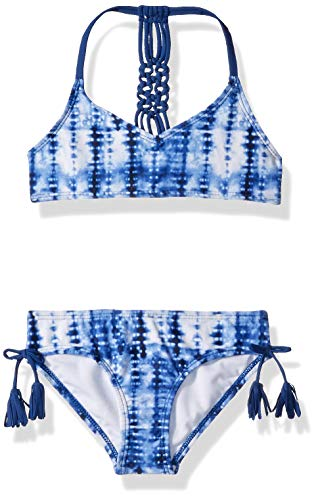 Kanu Surf Big Girls' Willow V-Neck Bikini Beach Sport 2-Piece Swimsuit, Navy Tie-dye, 12