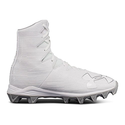Under Armour Boys' Highlight RM Jr. Lacrosse Shoe, White (100)/Metallic Silver, 5.5 (White And Silver Under Armour Highlight Cleats)