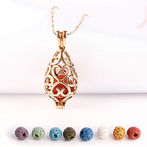 Maromalife 316L Stainless Steel Mini Teardrop Essential Oil Diffuser Necklace Lava Stone Rose Gold