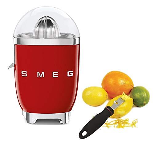 Smeg CJF01RDUS Powder Coated Vintage Style Citrus Juicer Bundle with Norpro 113 Grip-Ez Zester/Stripper - Red