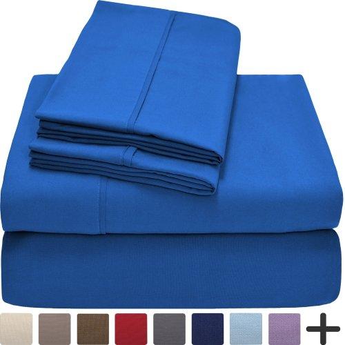 Premium 1800 Ultra-Soft Microfiber Collection Sheet Set - Double Brushed - Hypoallergenic - Wrinkle Resistant - Deep Pocket (Twin, Medium Blue)